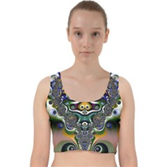 Fractal Art Artwork Design Velvet Racer Back Crop Top