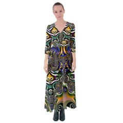 Fractal Art Artwork Design Button Up Maxi Dress