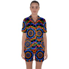 Abstract Digital Art Artwork Satin Short Sleeve Pyjamas Set