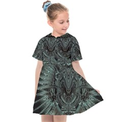Abstract Art Fractal Artwork Kids  Sailor Dress by Pakrebo