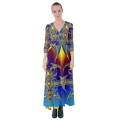 Abstract Art Design Digital Art Button Up Maxi Dress