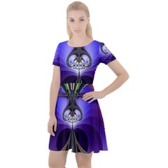 Abstract Art Artwork Fractal Design Pattern Cap Sleeve Velour Dress