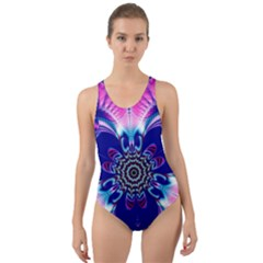 Artwork Art Fractal Flower Design Cut-out Back One Piece Swimsuit