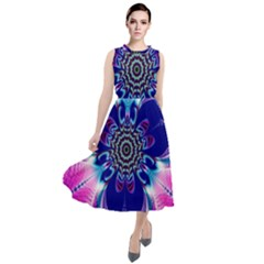 Artwork Art Fractal Flower Design Round Neck Boho Dress