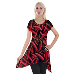 Red Chili Peppers Pattern  Short Sleeve Side Drop Tunic by bloomingvinedesign