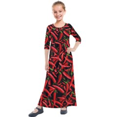 Red Chili Peppers Pattern  Kids  Quarter Sleeve Maxi Dress by bloomingvinedesign