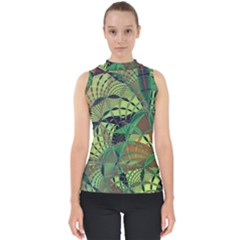 Design Background Concept Fractal Mock Neck Shell Top