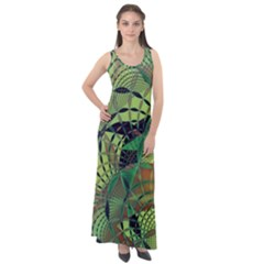 Design Background Concept Fractal Sleeveless Velour Maxi Dress