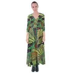 Design Background Concept Fractal Button Up Maxi Dress