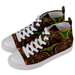 Fractal Art Artwork Design Art Pattern Women s Mid Top Canvas Sneakers by Pakrebo