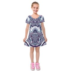 Fractal Art Artwork Design Kids  Short Sleeve Velvet Dress