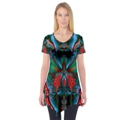 Abstract Art Fractal Artwork Short Sleeve Tunic