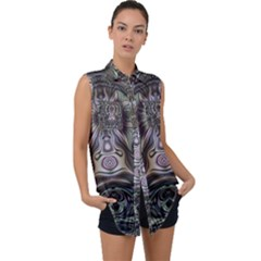 Digital Art Fractal Artwork Sleeveless Chiffon Button Shirt