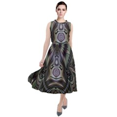 Digital Art Fractal Artwork Round Neck Boho Dress