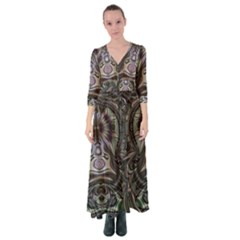 Digital Art Fractal Artwork Button Up Maxi Dress