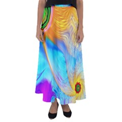 Artwork Digital Art Fractal Colors Flared Maxi Skirt by Pakrebo
