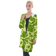 Butterflies Pattern Background Green Decoration Repeating Style Sketch Hooded Pocket Cardigan