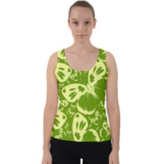 Butterflies Pattern Background Green Decoration Repeating Style Sketch Velvet Tank Top by fashionpod