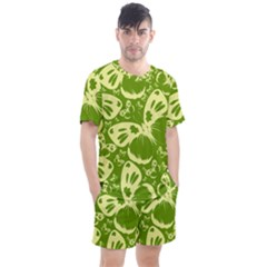 Butterflies Pattern Background Green Decoration Repeating Style Sketch Men s Mesh Tee And Shorts Set