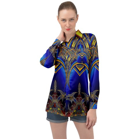 Abstract Art Design Digital Art Image Long Sleeve Satin Shirt by Pakrebo