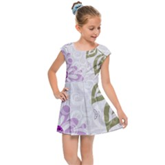 Beautiful Purple Flower Butterflies Pattern Kids  Cap Sleeve Dress