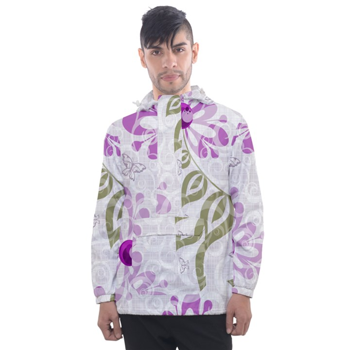 Beautiful Purple Flower Butterflies Pattern Men s Front Pocket Pullover Windbreaker