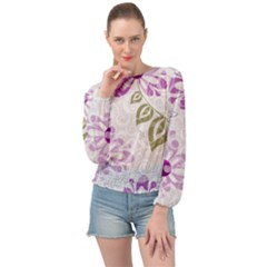Beautiful Purple Flower Butterflies Pattern Banded Bottom Chiffon Top