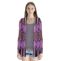Artwork Fractal Geometrical Design Drape Collar Cardigan by Pakrebo