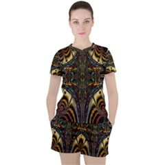 Abstract Art Artwork Fractal Pattern Women s Tee And Shorts Set by Pakrebo