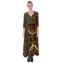 Abstract Art Artwork Fractal Pattern Button Up Maxi Dress