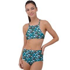 Koala Bears Pattern High Waist Tankini Set by bloomingvinedesign