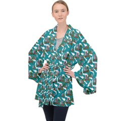Koala Bears Pattern Velvet Kimono Robe by bloomingvinedesign