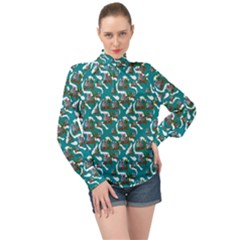 Koala Bears Pattern High Neck Long Sleeve Chiffon Top by bloomingvinedesign