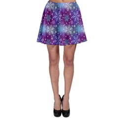 Snow Blue Purple Tulip Skater Skirt by Jojostore