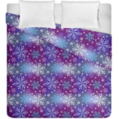 Snow Blue Purple Tulip Duvet Cover Double Side (king Size) by Jojostore