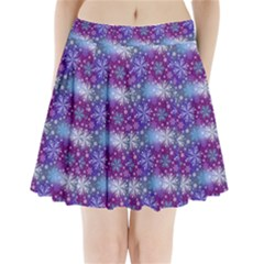 Snow Blue Purple Tulip Pleated Mini Skirt by Jojostore