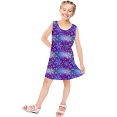 Snow Blue Purple Tulip Kids  Tunic Dress