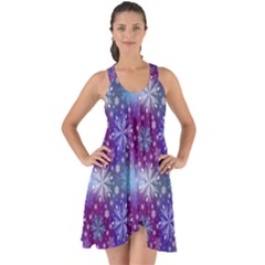 Snow Blue Purple Tulip Show Some Back Chiffon Dress