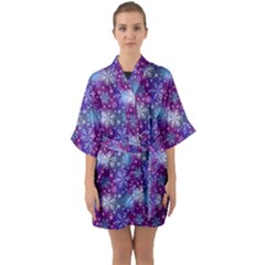Snow Blue Purple Tulip Quarter Sleeve Kimono Robe by Jojostore