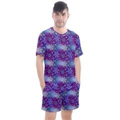 Snow Blue Purple Tulip Men s Mesh Tee And Shorts Set