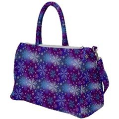 Snow Blue Purple Tulip Duffel Travel Bag by Jojostore