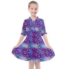 Snow Blue Purple Tulip Kids  All Frills Chiffon Dress by Jojostore