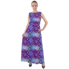 Snow Blue Purple Tulip Chiffon Mesh Maxi Dress by Jojostore