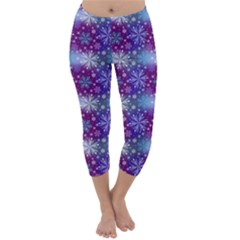 Snow Blue Purple Tulip Capri Winter Leggings  by Jojostore