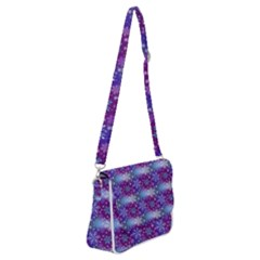 Snow Blue Purple Tulip Shoulder Bag With Back Zipper by Jojostore