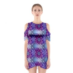 Snow Blue Purple Tulip Shoulder Cutout One Piece Dress by Jojostore