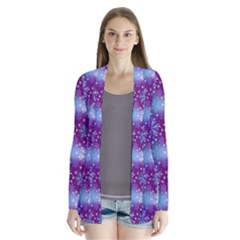 Snow Blue Purple Tulip Drape Collar Cardigan by Jojostore