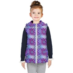 Snow Blue Purple Tulip Kids  Hooded Puffer Vest