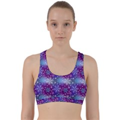 Snow Blue Purple Tulip Back Weave Sports Bra by Jojostore