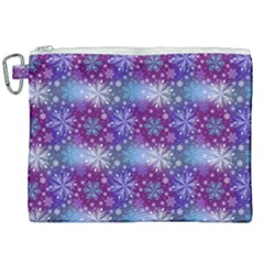 Snow Blue Purple Tulip Canvas Cosmetic Bag (xxl) by Jojostore